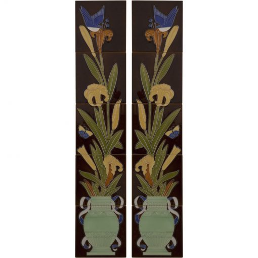 Tubelined Victorian fireplace tiles LGC086