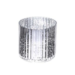 11117020CB Silver Glass Candle Holder 11cm