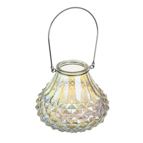 11166295CB Iridescent Glass Tlight Holder Lantern 13.5cm