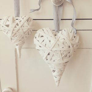 Rustic White Chunky Heart-Large
