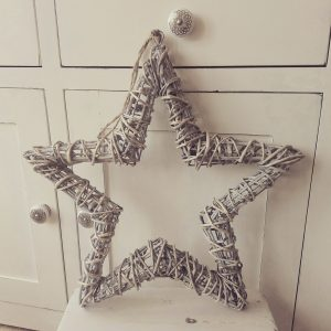 Medium Hanging Grey Washed Wicker Star