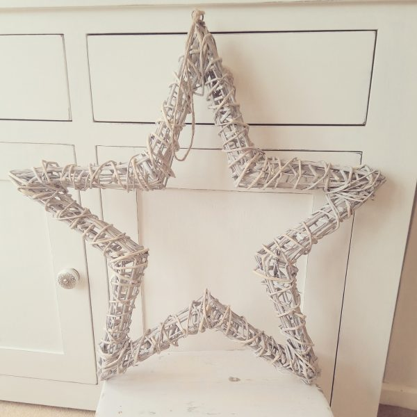Large Hanging Grey Washed Wicker Star