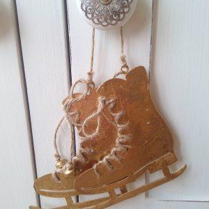 33591 Antique Style Hanging Skates Gold 10.5cm x 11cm