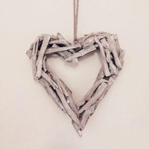 Hanging natural wood heartHanging natural wood heart