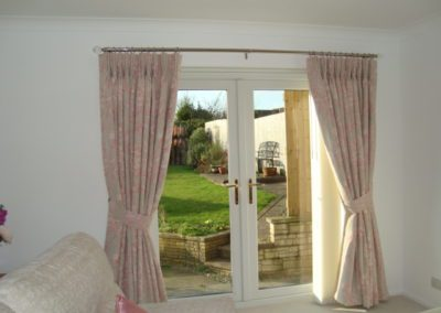 Triple pleated Curtains with matching tiebacks