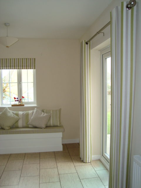 Matching Curtains, Roman blinds and soft cushions