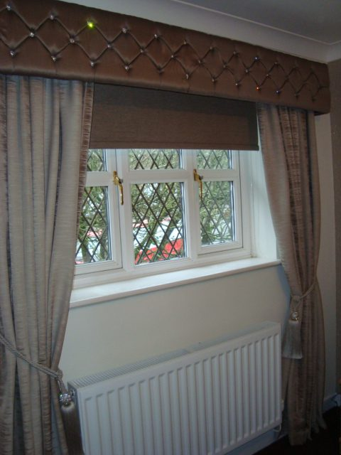 Pelmet, Roller Blinds and swags and tails curtains