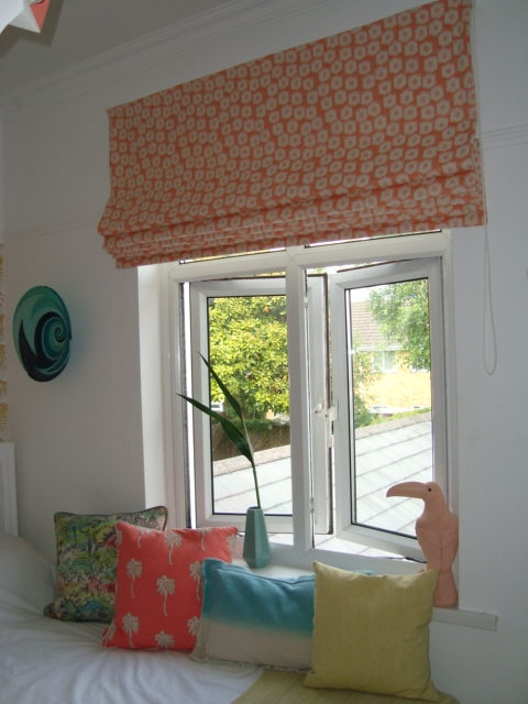 Roman Blinds with a flower pattern