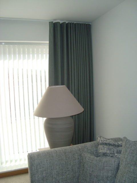 Wave Curtains with vertical blinds