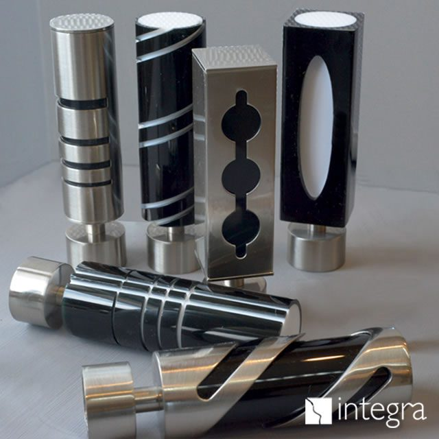Metal curtain pole ends made by Integra