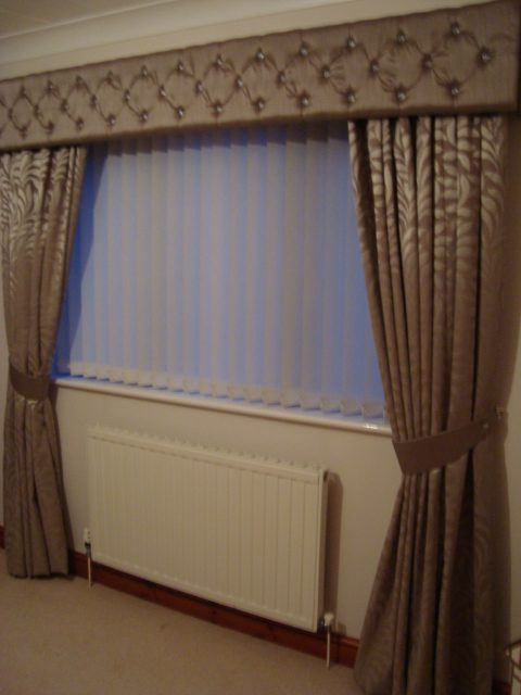 Penny's curtains custom made curtains, pelmet and Tiebacks alongside a set of vertical blinds.