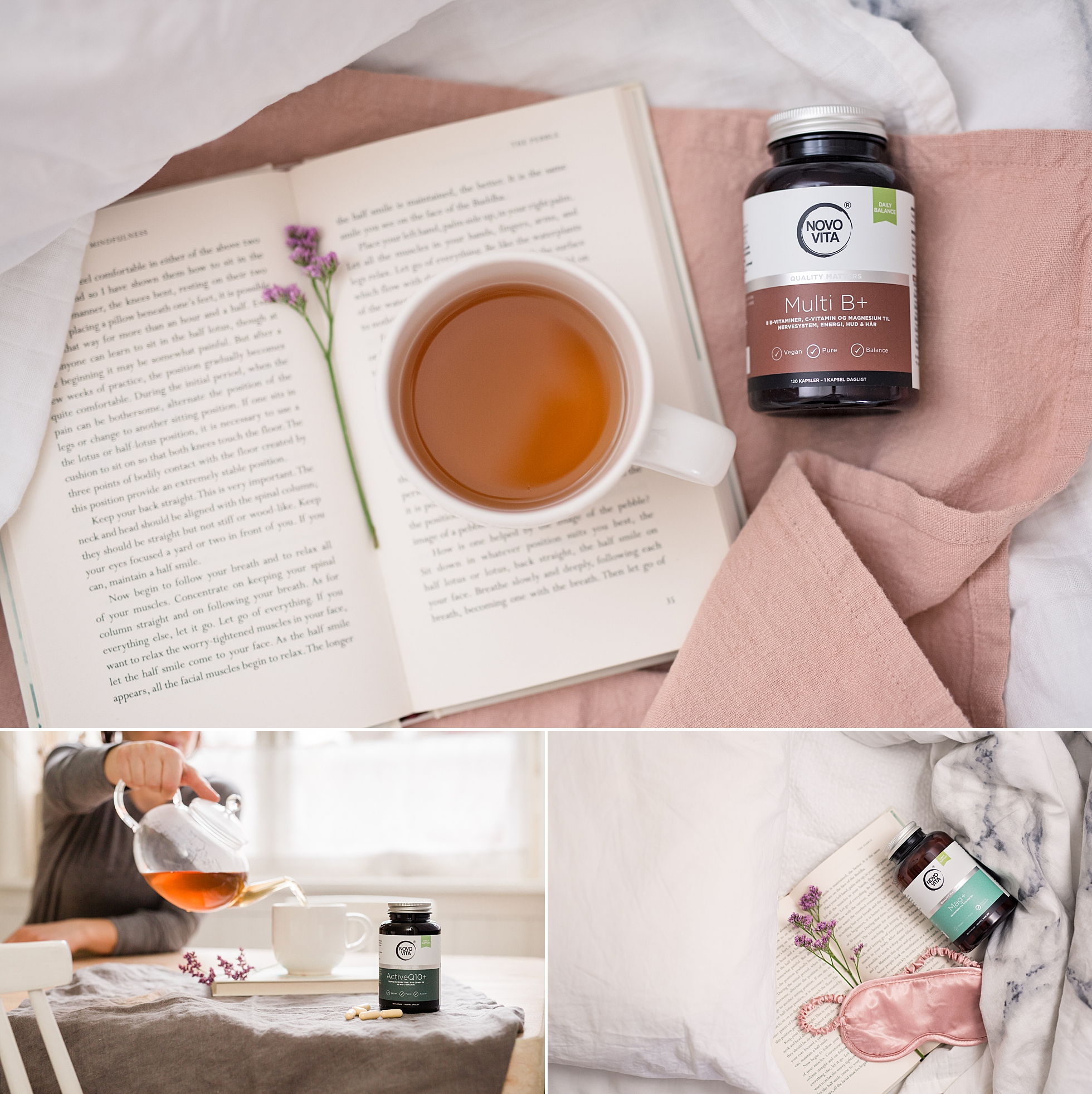 Product photos of tea and vitamins