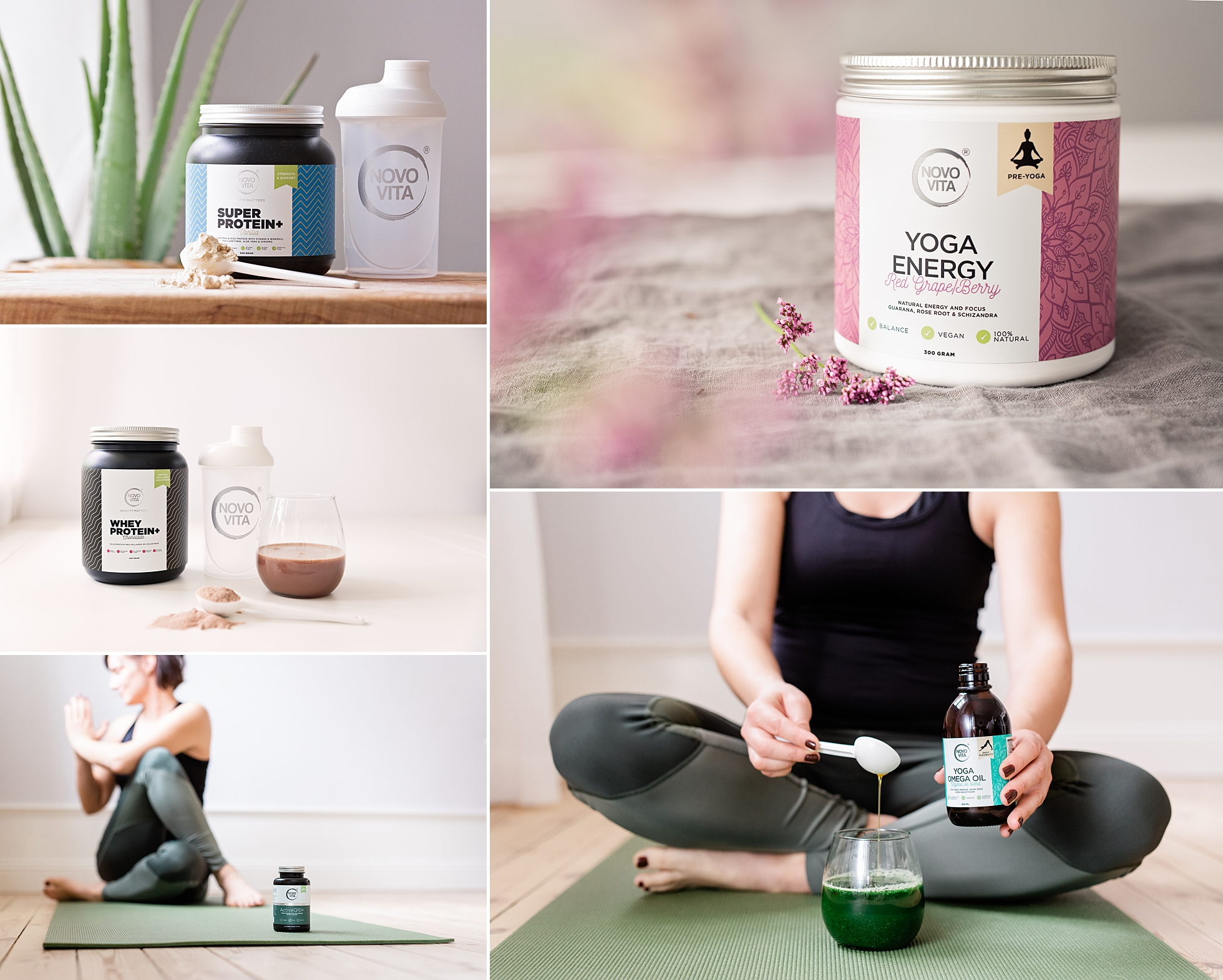 Product photos of yoga healthcare products