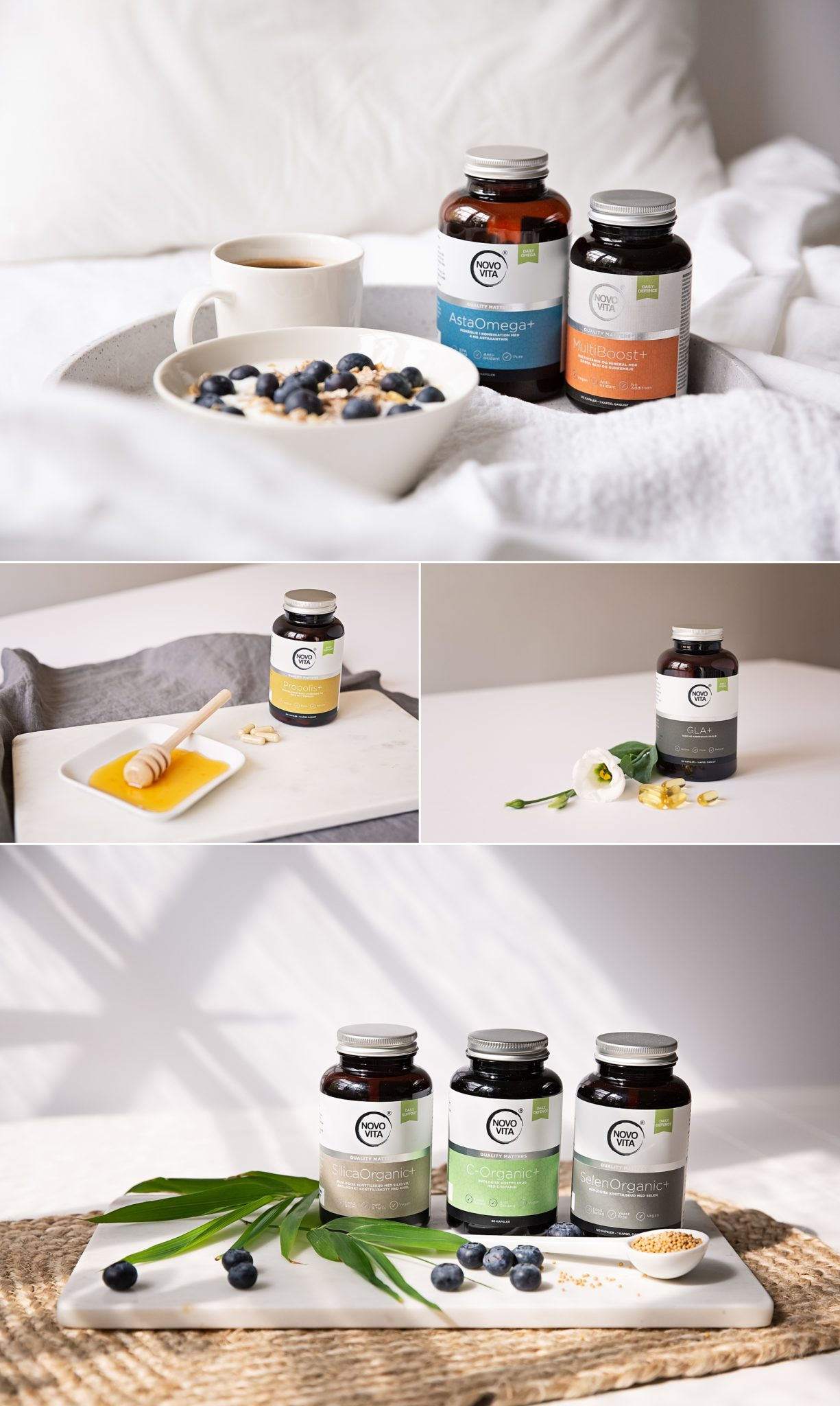 Light photos of healthcare products and food