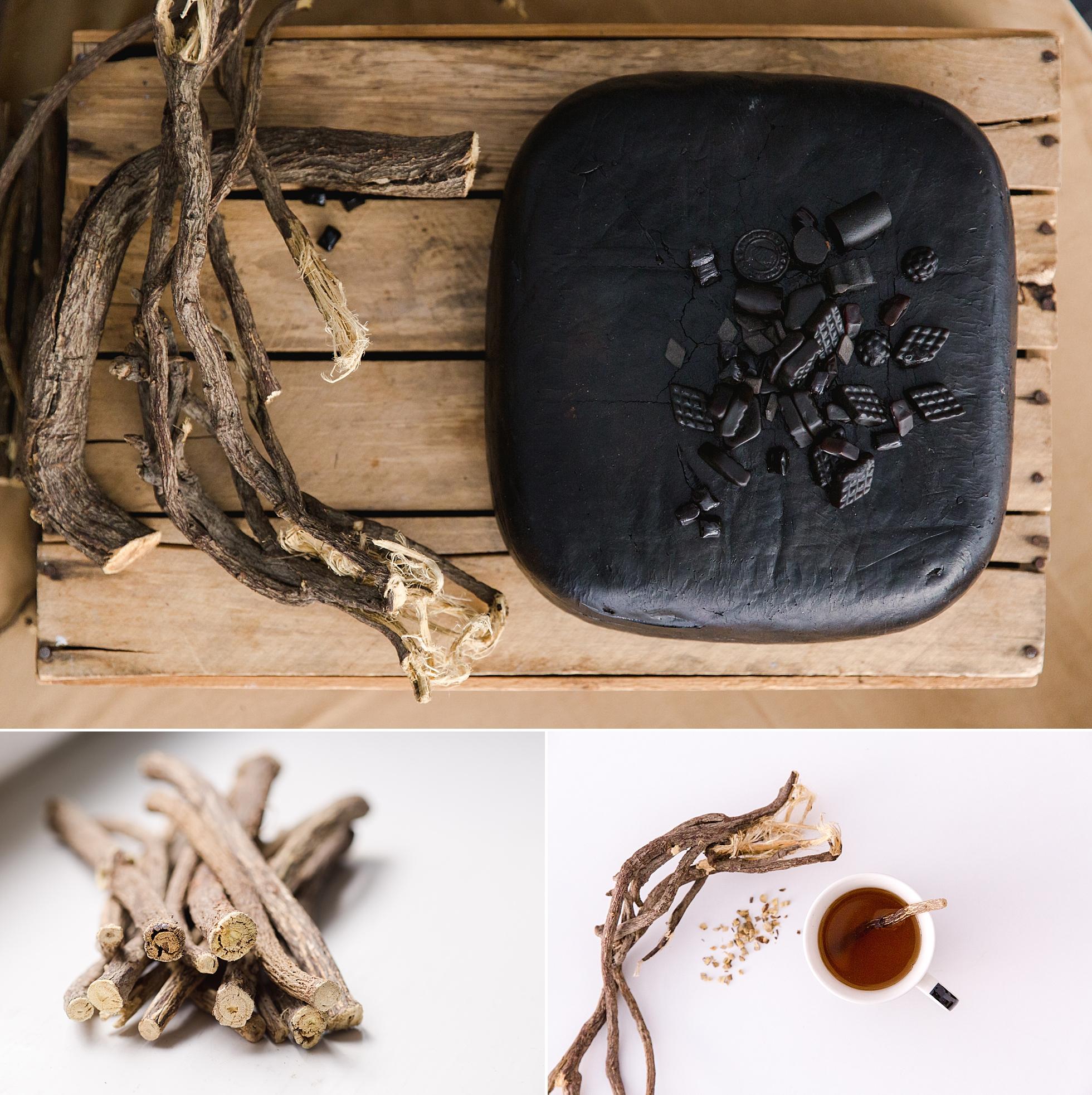 Natural photos of licorice root, licorice tea and licorice