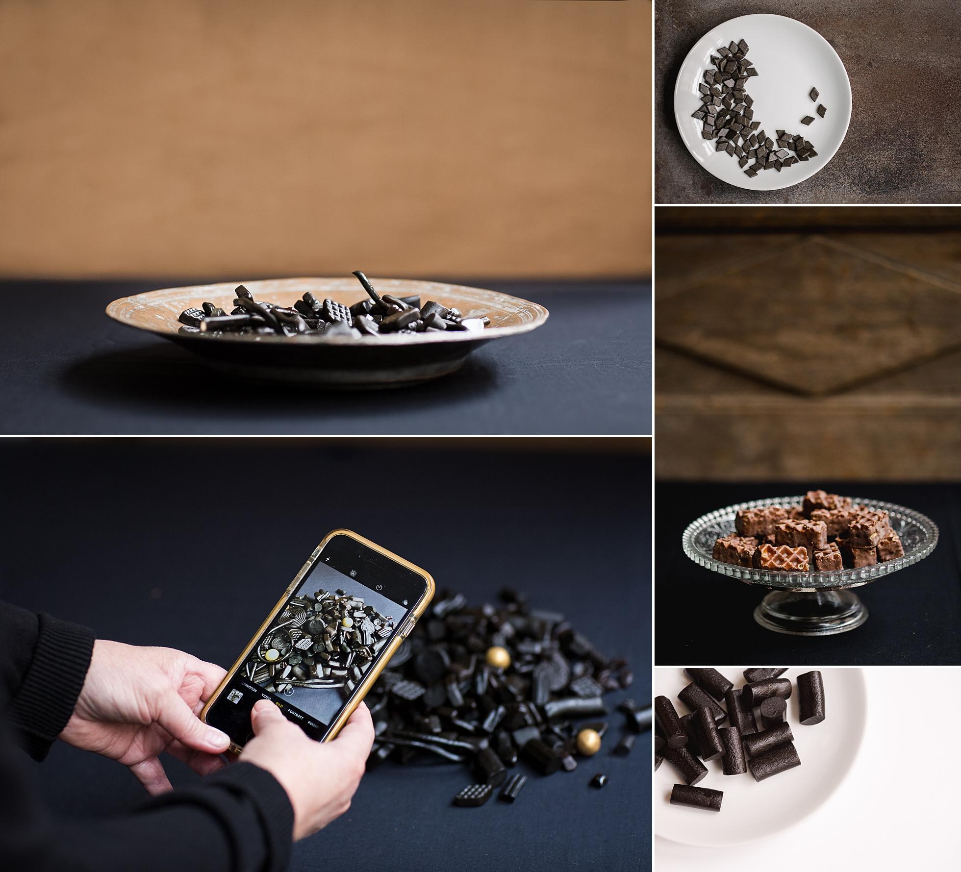 Product photos of liquorice and chocolate