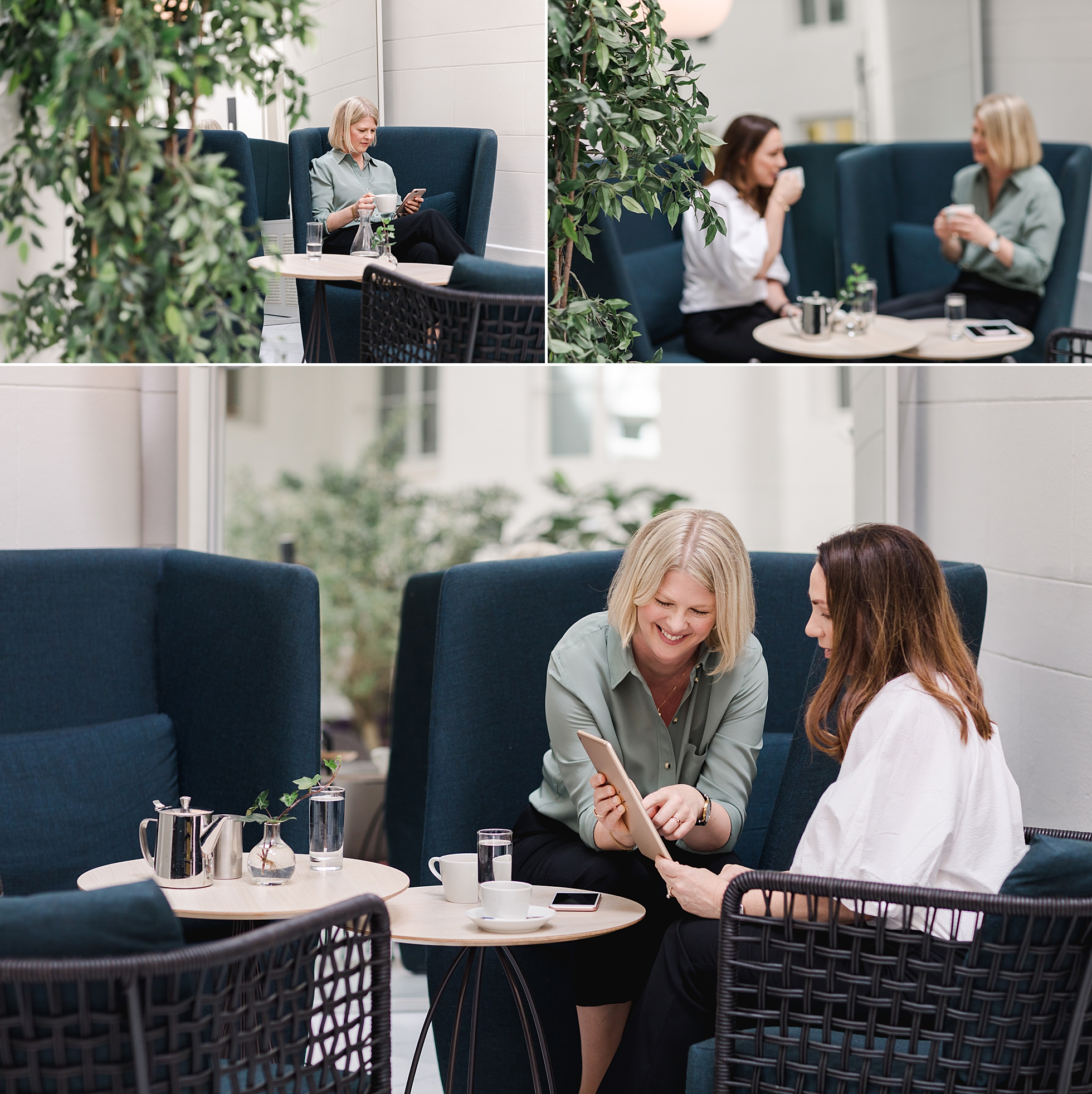 Personal brand photos of Christine Ljungberg in a consultation with a client at Hotel Nobis