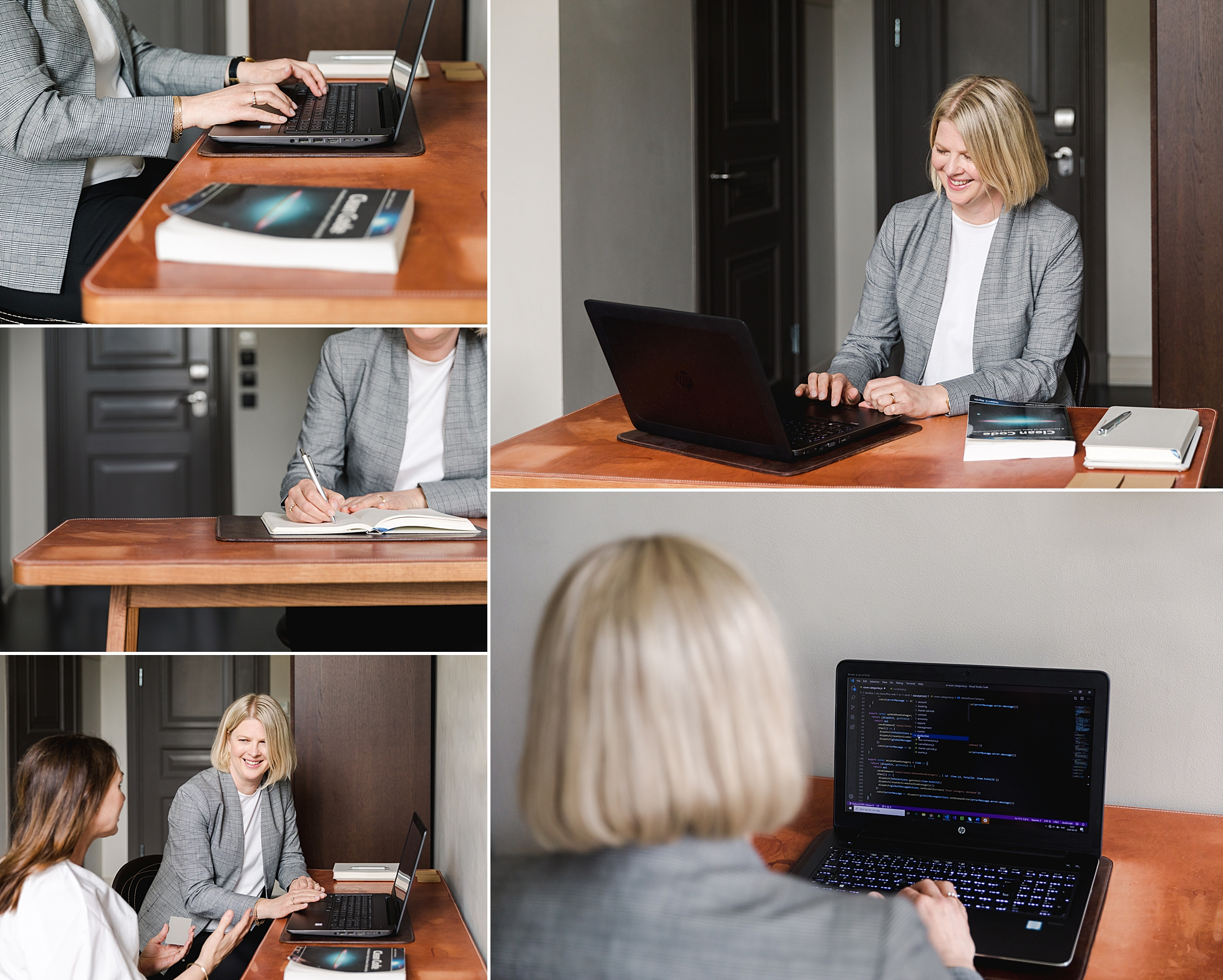 A female IT programmer in a hotel room as a photo shoot location in Stockholm