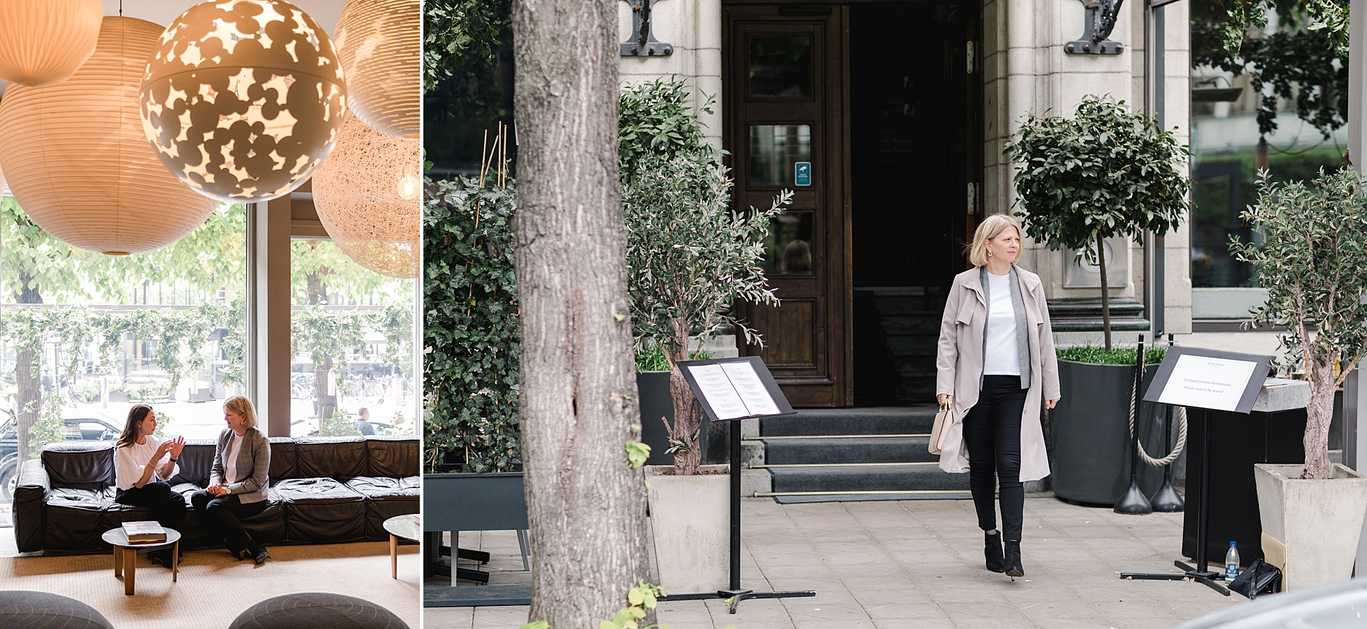 Two female entrepreneurs at Hotel Nobis as a beautiful photo shoot location in Stockholm
