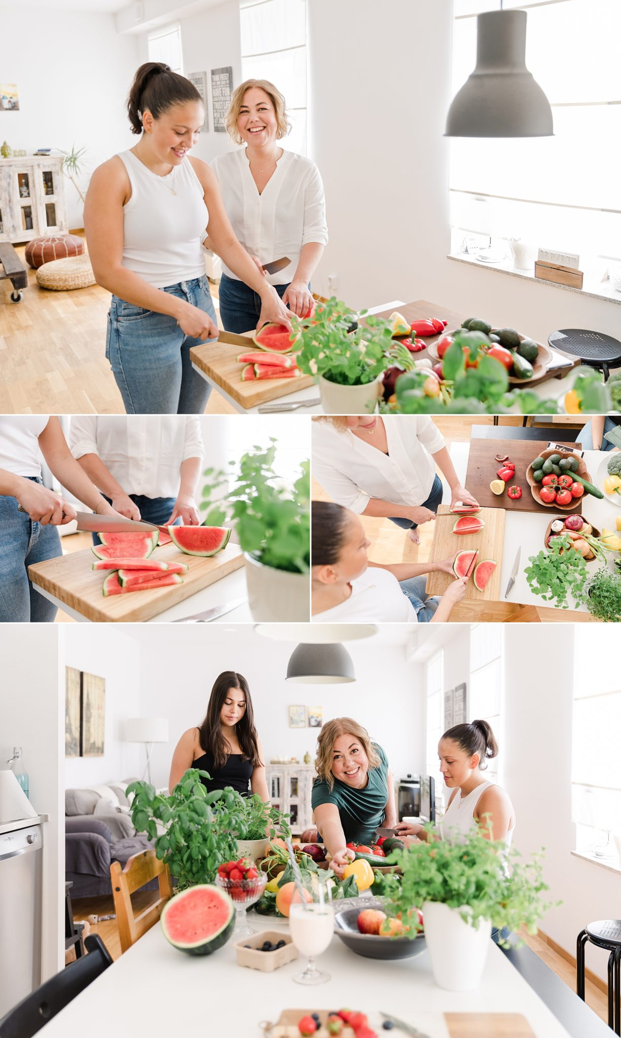 A woman and her daughters preparing healthy food