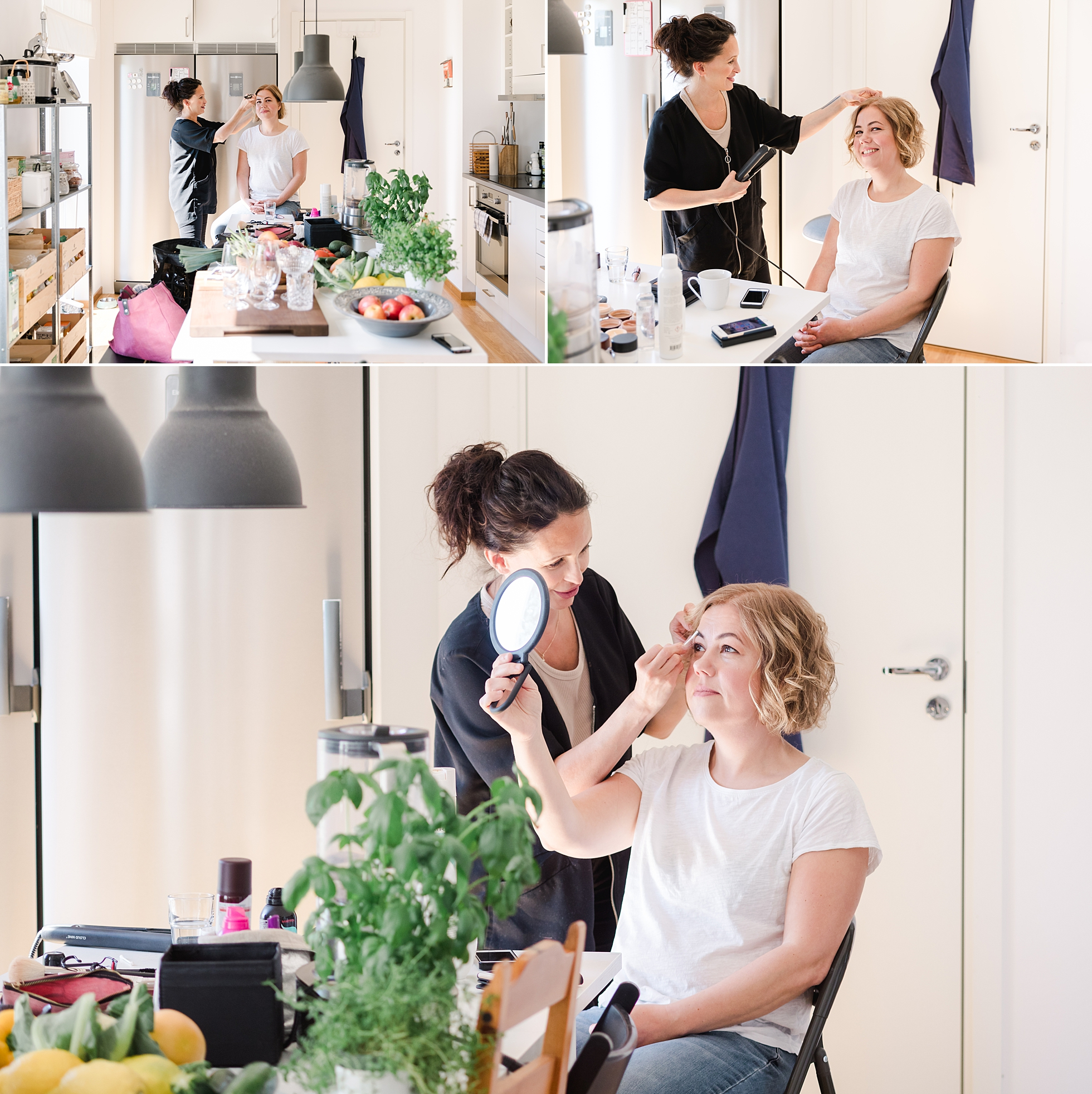 Hair and makeup artist Mia Adam preparations for a brand photo session