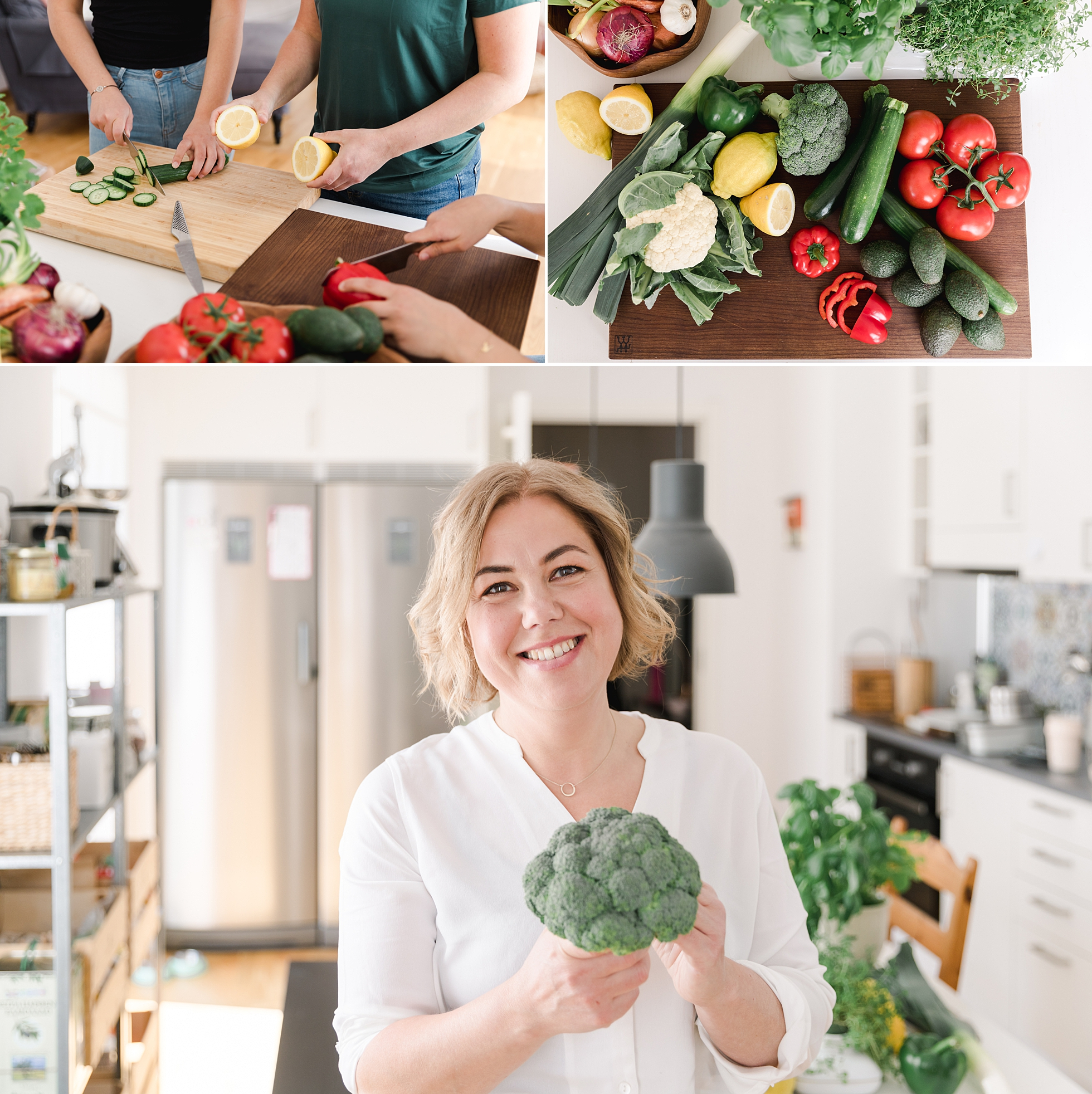 A collage of a woman holding broccoli and preparing healthy food
