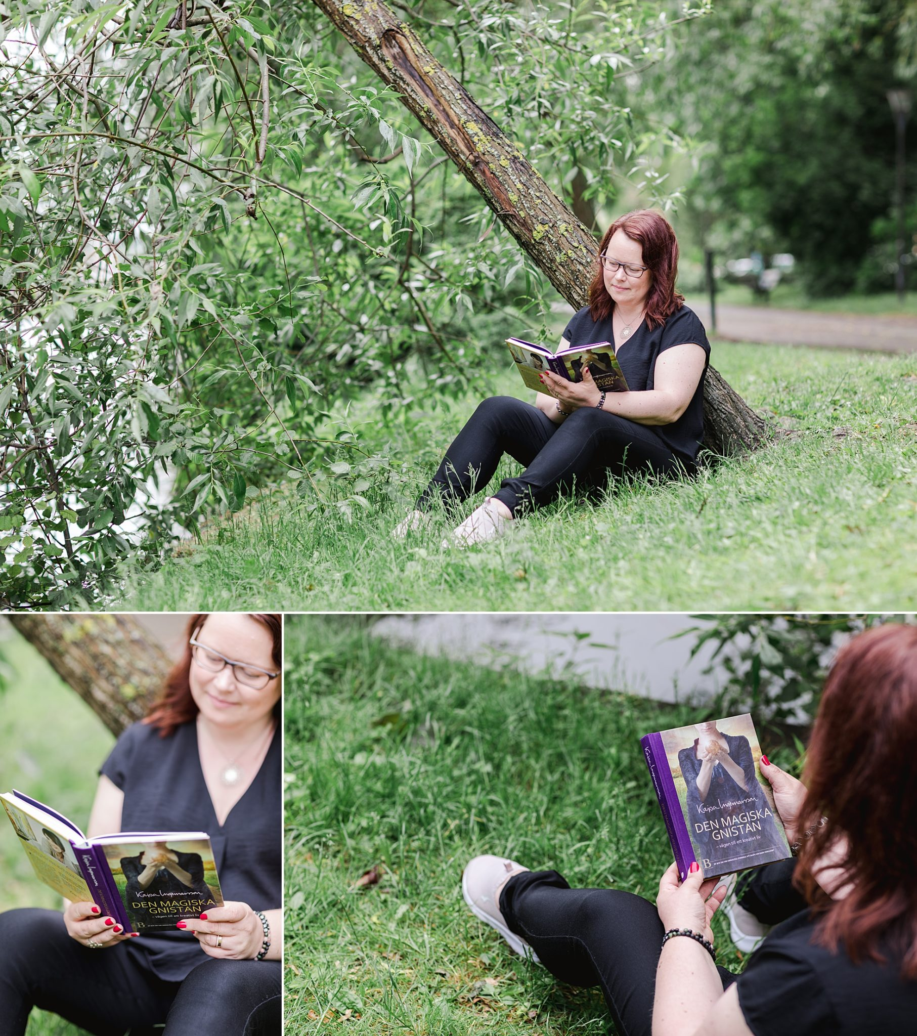 A woman sitting in a park reading a book