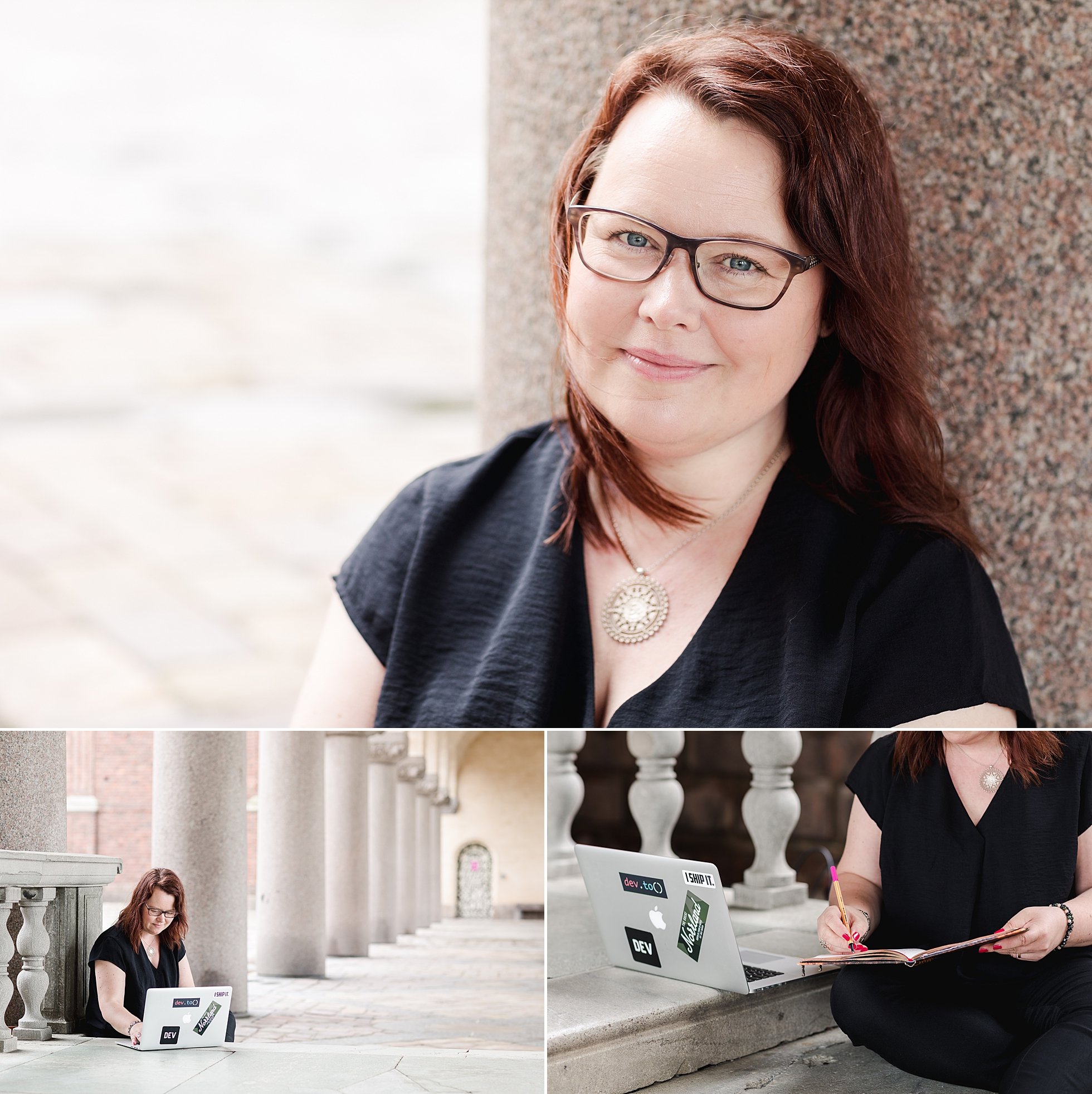 A photo collage of natural portraits of a female entrepreneur