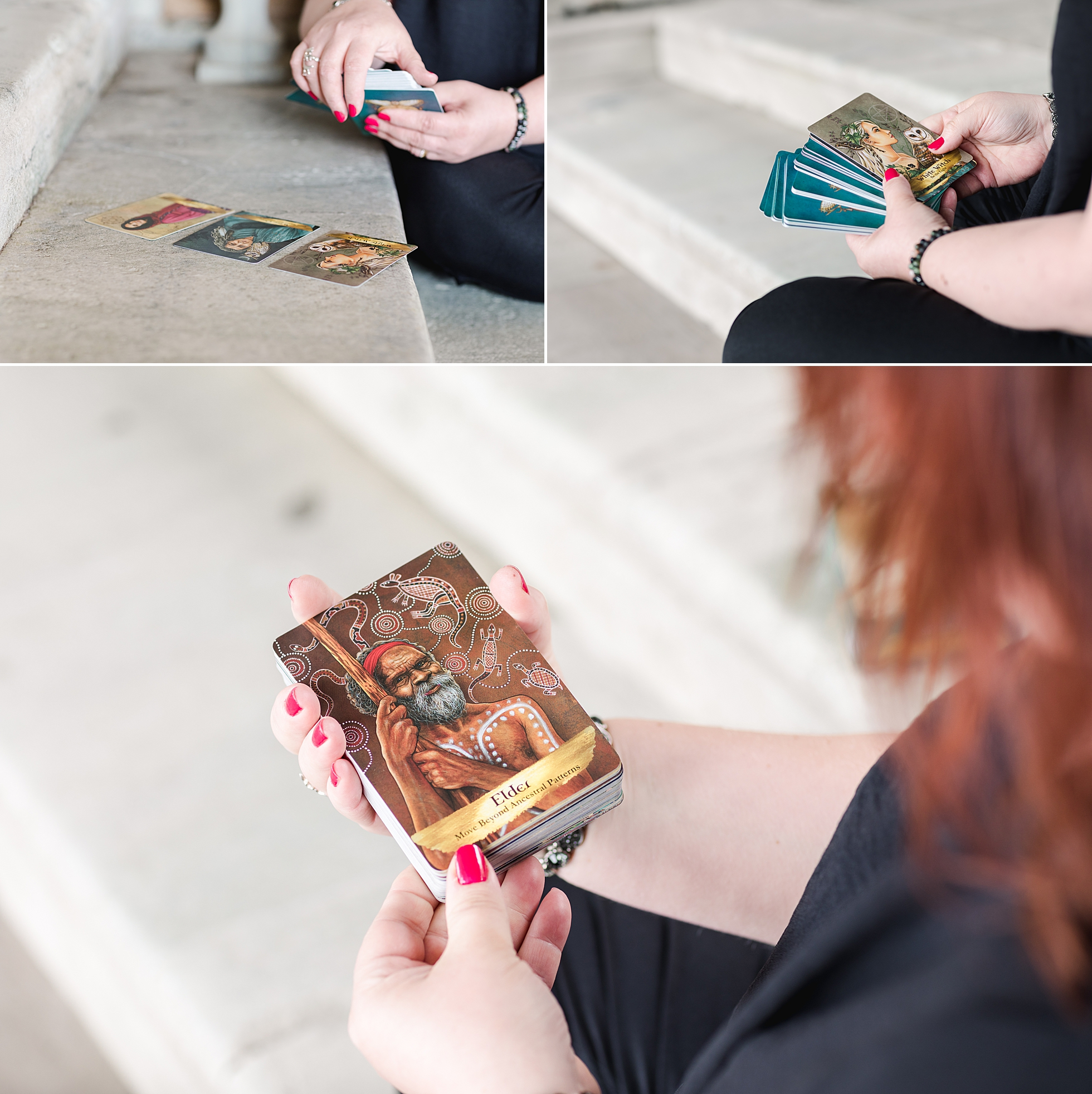 A photo collage of a woman and her tarot cards