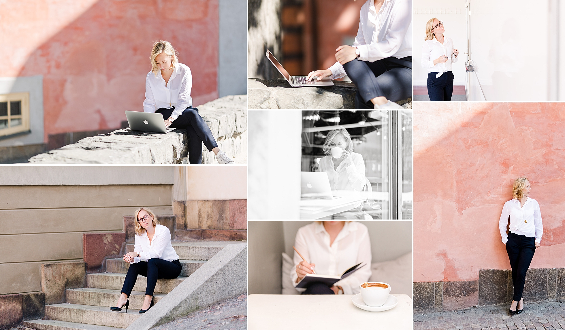 A collage of branding photos of business coach at Riddarholmen in Stockholm
