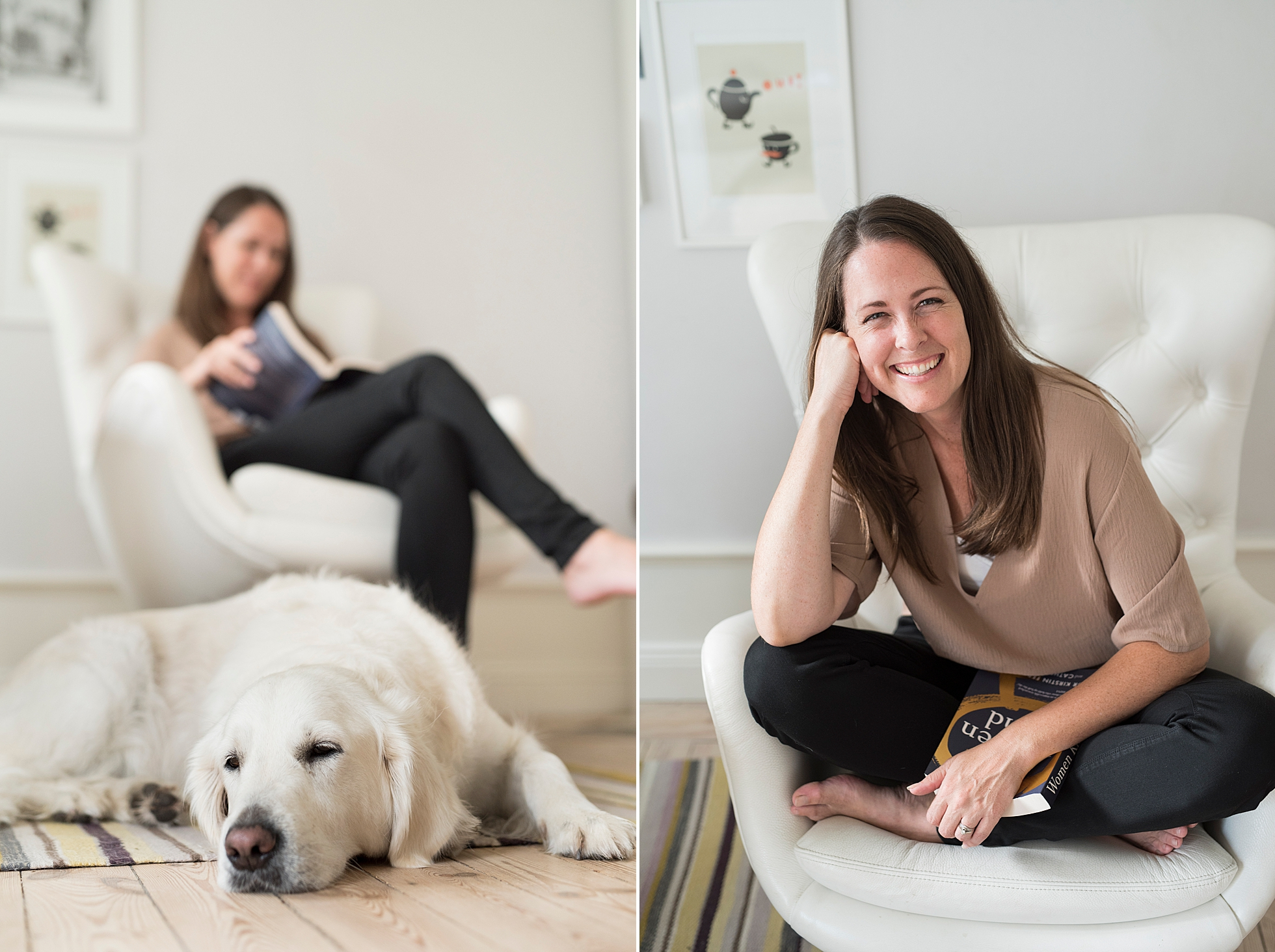 Light and airy brand photos of photographer, Janine Laag and her dog