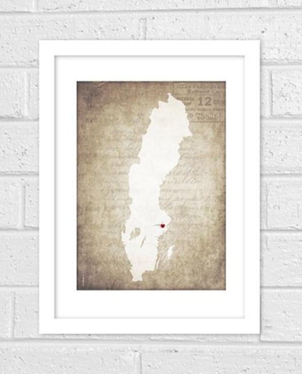 Sverigekarta gammeldags bakgrund beige
