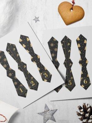 Slipsetiketter till adventskalender i svart/guld