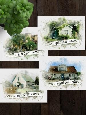 Vinetiketter Husets vin