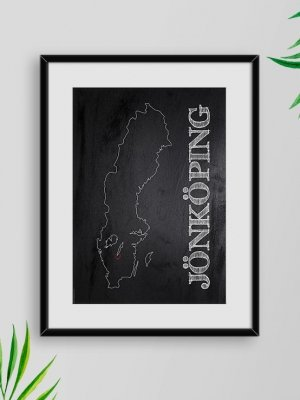 Poster Sverigekarta griffel