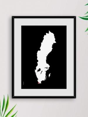 Sverigekarta Malmö svart