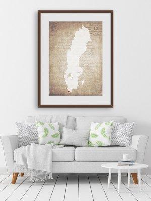 Sverigekarta Malmö gammeldags beige