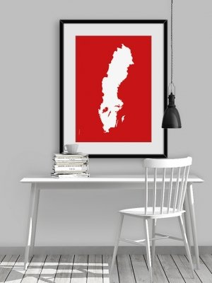Sverigekarta Malmö röd