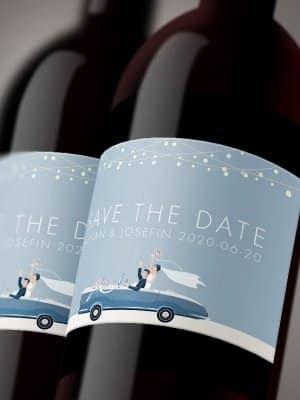 Vineteiketter Bröllopsbil