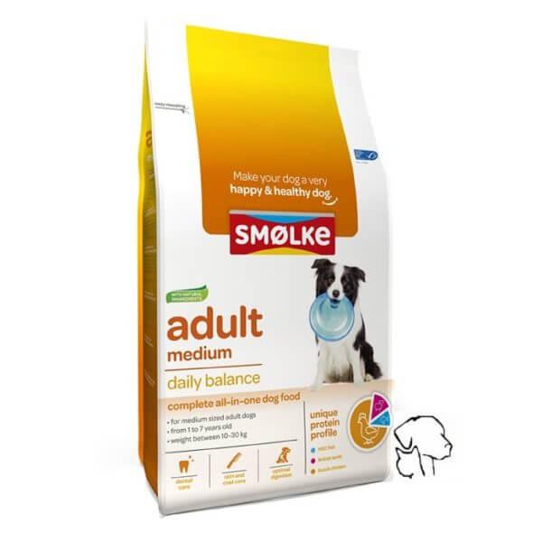 Smolke hondenvoer medium adult, goed hondenvoer.