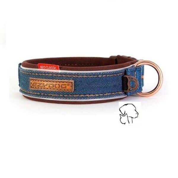 Ezydog halsband classic, brede halsband voor uw hond met stoere denim uitstraling