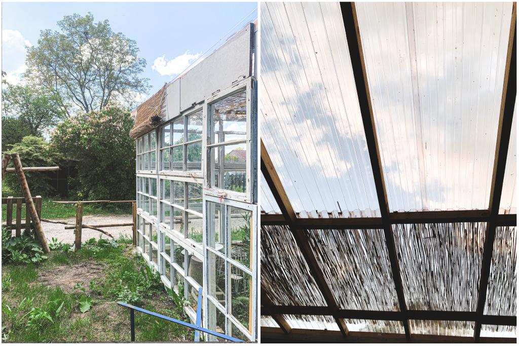 Schilfmatten werden als Sonnenschutz am Dach angebracht