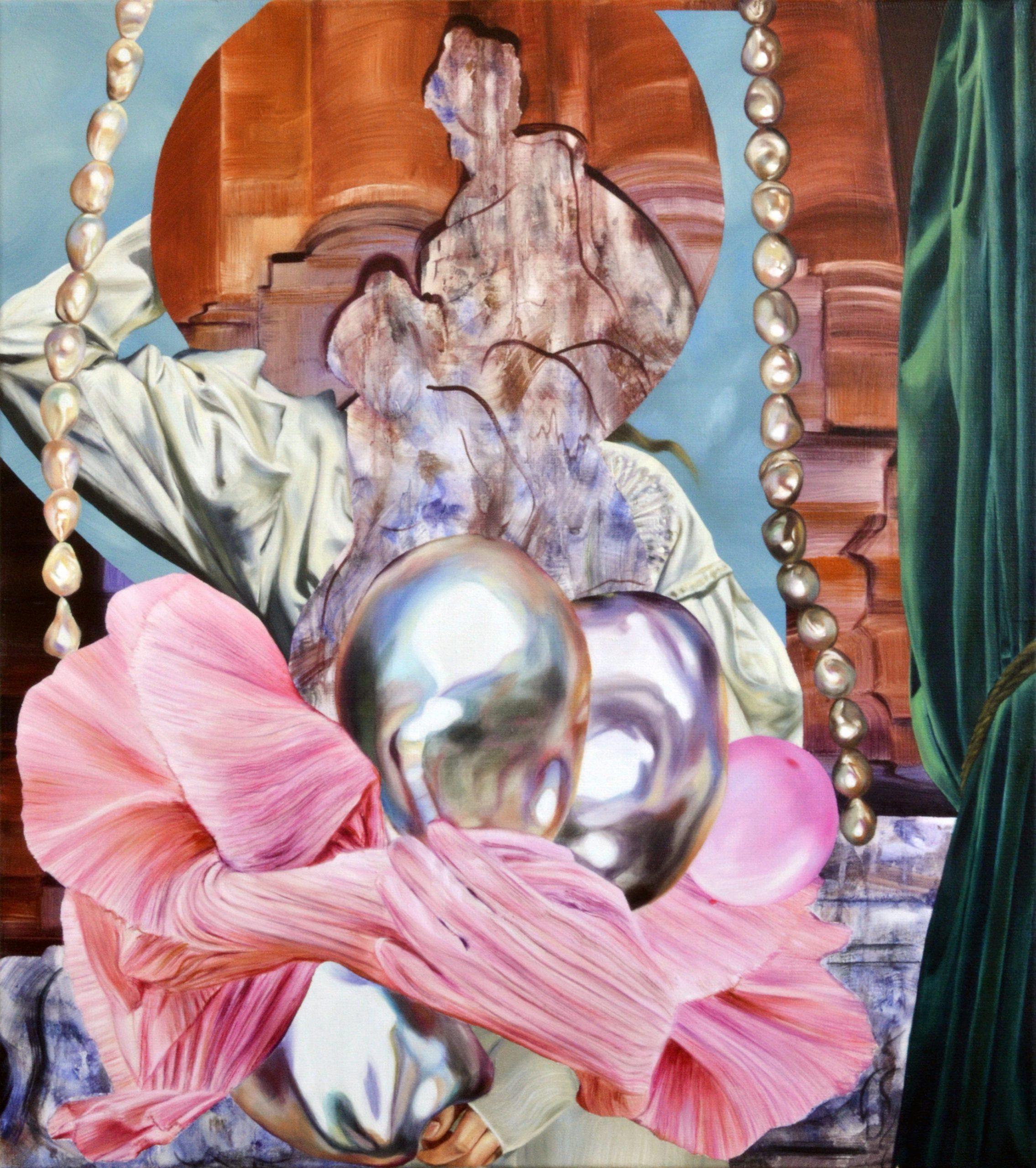 Martyna Borowiecka. Walking away in a dazzling glow. 90 x 80 cm. Oil on canvas. 2019
