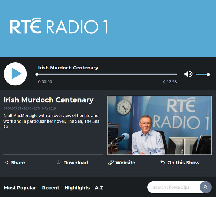RTE Radio 1 - Irish Murdoch Centenary