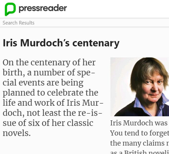 Pressreader- Iris Murdoch's centenary