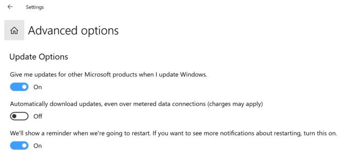 Microsoft Windows 10 windows update advanced options