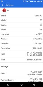 leagoo s8 hardware details