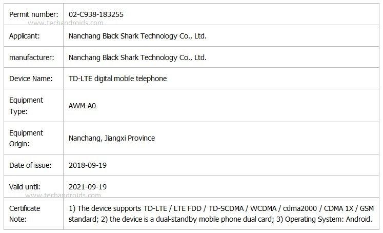 Black-Shark-AWM-A0-certification-details-1