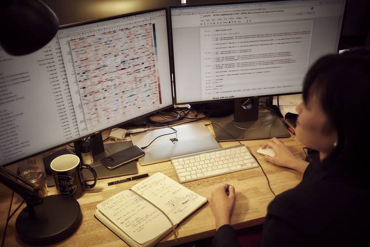 Candice Yip, a quantitative researcher at Thasos, working at the company's Manhattan headquarters.