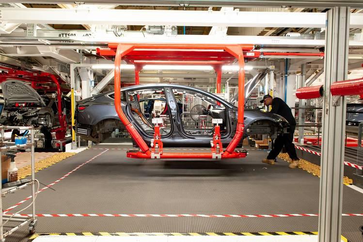 A worker on the Model 3 assembly line at Tesla's Fremont, Calif., factory on June 11.